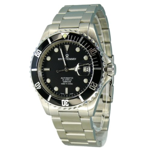 Revue Thommen Diver Watch Automatic Mens - 42mm Analog Black Face Diving Watch with Second Hand, Date and Sapphire Crystal - Metal Band Stainless Steel Swiss Made Dive Watches for Men Waterproof 300M (Best Swiss Dive Watches)