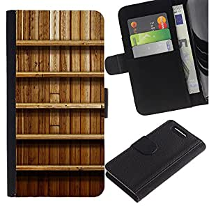 KingStore / Leather Etui en cuir / Sony Xperia Z1 Compact D5503 / Estante de la pared de madera Interiror Dise?o Naturaleza