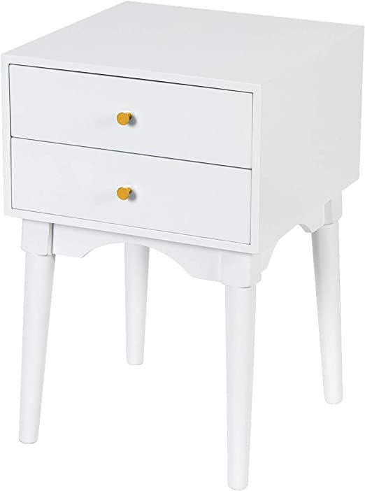 Amazon Com White Nightstands Side Tables Sofa End Table With 2 Storage Drawers Wood Legs Small Bedside Table For Bedroom Furniture Snack Night Table Kitchen Dining