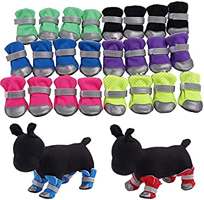 307318af60a2d XBKPLO Pet Dog Shoes Boots 4 Pcs Breathable Anti-Slip Cute Puppy Spring  Summer Paws Protective Reflective Straps
