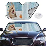 N\ A Car Windshield Sun Shade Funny Cat Taking Bath with Toy Duck Sun Shade Sunshield for Windshield SUV Auto Sunshades Window Shade Front Windshield Cover Truck Car Accessories Foldable
