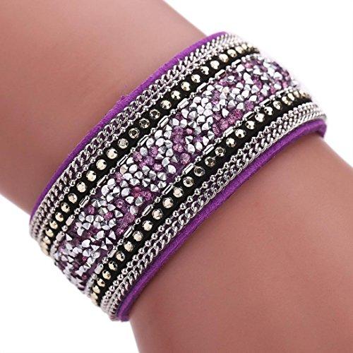 Cowhide Crystal Rhinestone (Sunfei ®Women Bohemian Crystal Cowhide Bracelets Wrist Chains (Purple))