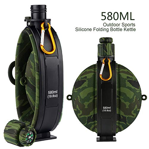BlueStraw Collapsible Military Water Bottle - Newly Designed Silicone Water Kettle Canteen with Compass Bottle Cap for Hiking Camping Outdoors, BPA Free 19.8 oz (Green Camo)