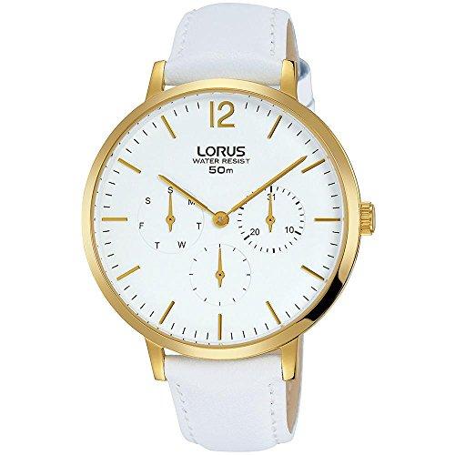 Lorus Women's 38mm White Leather Band Steel Case Quartz Analog Watch RP690CX9
