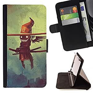 Momo Phone Case / Flip Funda de Cuero Case Cover - Creepy Flying Smurai Espantapájaros - Samsung Galaxy S6 EDGE