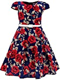 Bonny Billy Girls Classy Vintage Floral Swing Kids Party Dress with Belt 7-8 Years C-Flower