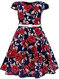 Bonny Billy Girls Classy Vintage Floral Swing Kids Party Dress Belt 10-11 Years C-Flower
