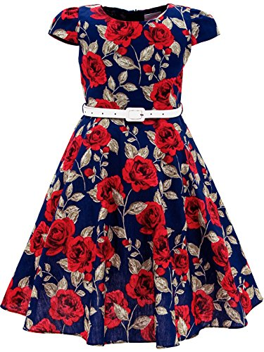 Bonny Billy Girls Vintage Special Occasion Swing Kids Wedding Party Dress with Belt 10-11 Years C-Flower Red