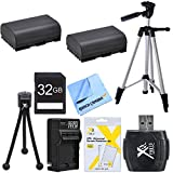 Essential LP-E6 Battery Bundle for Canon EOS 5D Mark III, 6D, 60D, 7D, 70D Cameras include 2 LP-E6 Camera Batteries, Battery Charger, 32GB High Speed Memory Card, 57-Inch Tripod, Mini Tripod, Hi Speed Card Reader, LCD Screen Protector 3 Pack and Micro Fib