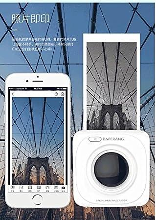 pignon compatible avec Android et iOS Mini imprimante mobile Bluetooth thermique portable sans fil blanche pour imprimante mobile