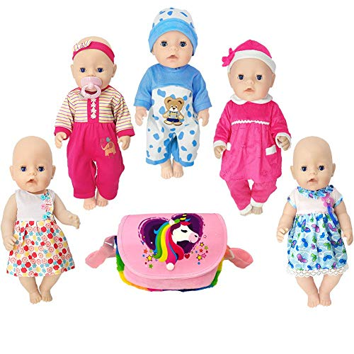 15 inch Doll Clothes Include 5 Set Doll Clothes for Bitty Baby Dolls, 14 to 16 Inch Newborn Baby Dolls,Baby Alive Dolls,18 Inch American Girl Dolls. (Pink)