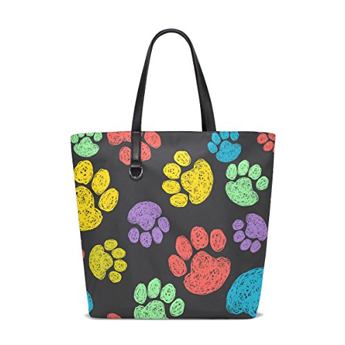 for Travel Shopping Women Totes Tote Cat Bag Footprints Tote Colorful Handbag Bags TIZORAX Beach Dog Paws OxTT81
