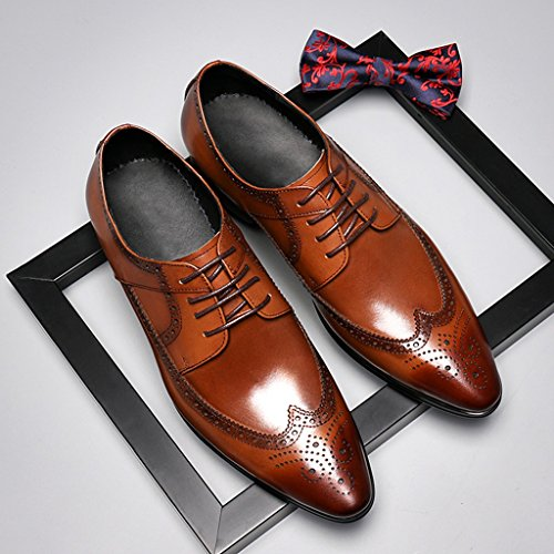 Zapatos Clásicos de Piel para Hombre Zapatos de cuero para hombres Negocios Ropa formal Zapatos de boda de estilo británico con cordones ( Color : Marrón , Tamaño : EU40/UK6.5 ) Marrón