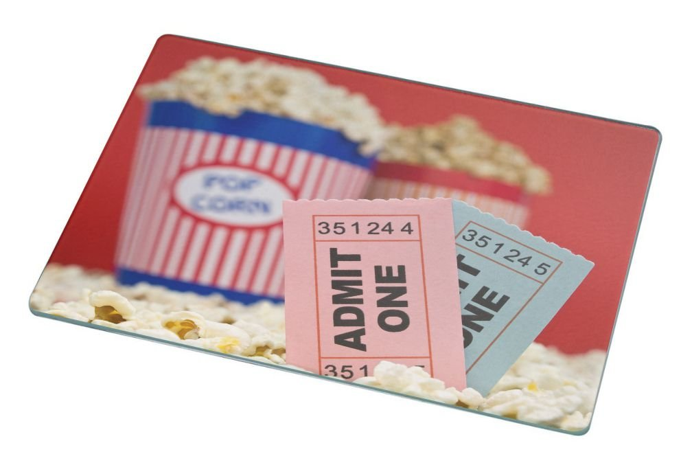Rikki Knight RK-LGCB-43 Movie Stubs and Popcorn Glass Cutting Board, Large, White