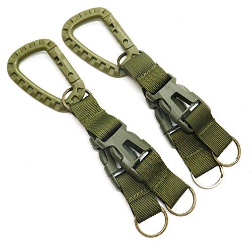 HUELE 2pcs Tactical Gear Clip, Quick Release Tactical Carabiner Nylon Webbing Belt Keychain for Outdoor Activities by HUELE