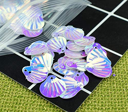 (HATCHMATIC 40 Colorful Shell Sequins for UV Epoxy Filler Resin Pendant Necklace Jewelry Making Craft DIY Accessories: White)