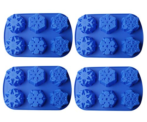 (Bekith Non-Stick Snowflakes Silicone Cake Mold Christmas Baking Molds, Set of 4)