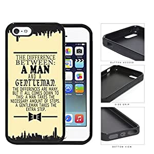 The Difference Between A Man And A Gentleman Yellow Background And Silhouette Cities iPhone 5 5s Rubber Silicone TPU Cell Phone Case