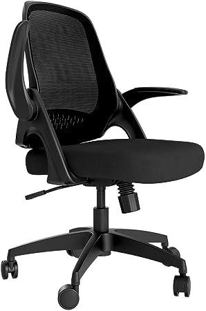Hbada Fauteuil de Bureau avec Accoudoirs Pliables, Chaise en Maille Respirable et Confortable, Hauteur Réglable, Noir