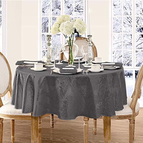 Luxury Damask Fabric Tablecloth, 100% Polyester, No Iron, Soil Resistant Holiday Tablecloth, 70 Inch Round, Gray ()