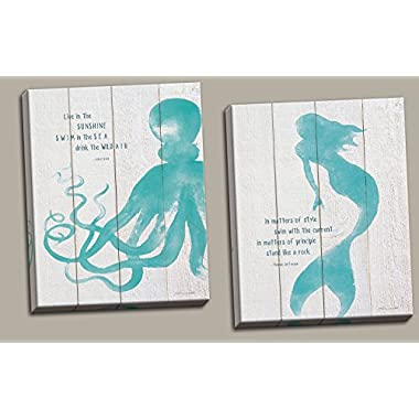 Beautiful Popular Inspirational Mermaid and Octopus Set; Coastal Décor; Two 11x14 Hand-Stretched Canvases. Teal/White