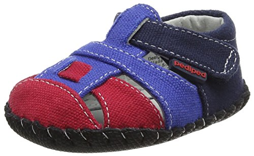 pediped Baby Harvey Flat, Navy Red, Large E/5.5-6 E US Infant