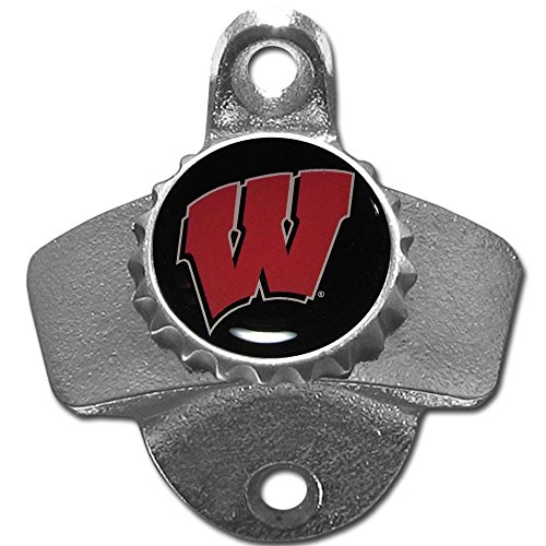 Wisconsin Badgers Bottle - Siskiyou NCAA Wisconsin Badgers Wall Mounted Bottle Opener, 26