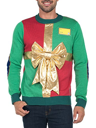 Tipsy Elves Mens Ugly Christmas Sweater - Funny Green Sweater
