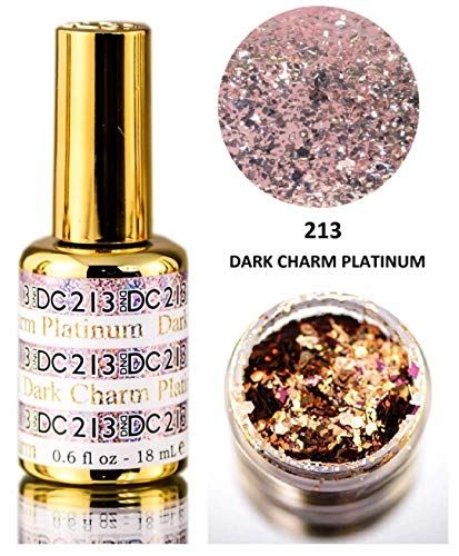 DND DC PLATINUM Gel Polish, Premium Gel Polish for Nails Containing Glitter, Daisy Nails (with bonus side Glitter) Made in USA (Dark Charm Platinum (213)) ()