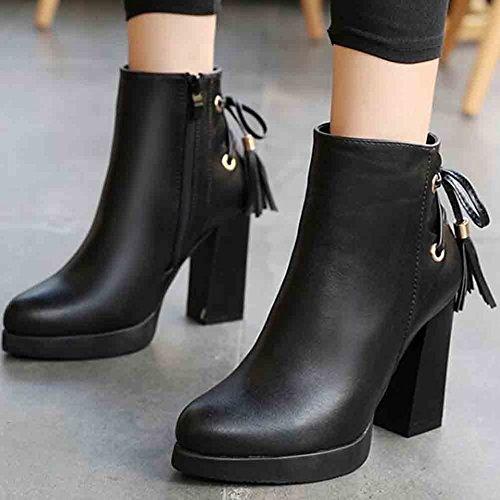 Easemax Womens Trendy Fringe Round Toe Platform High Chunky Heel Zipper Boots Black ynXNq8K