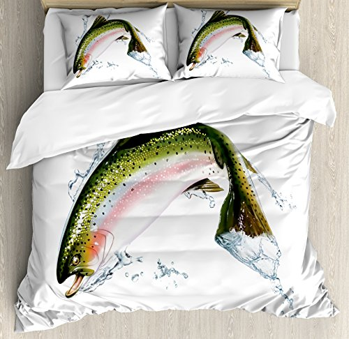 Jumping Salmon - Fish Duvet Cover Set Queen Size by Ambesonne, Salmon Jumping out of Water Making Splashes Cartoon Design Photorealistic Airbrush, Decorative 3 Piece Bedding Set with 2 Pillow Shams, Multicolor