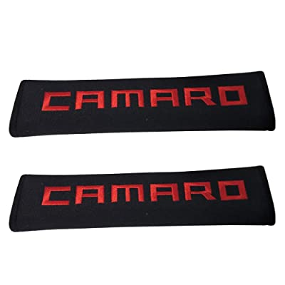 Tangpot 2pcs Car Accessories Red Camaro Logo Car Seat Belt Cover Fit for Camaro Enthusiast: Automotive