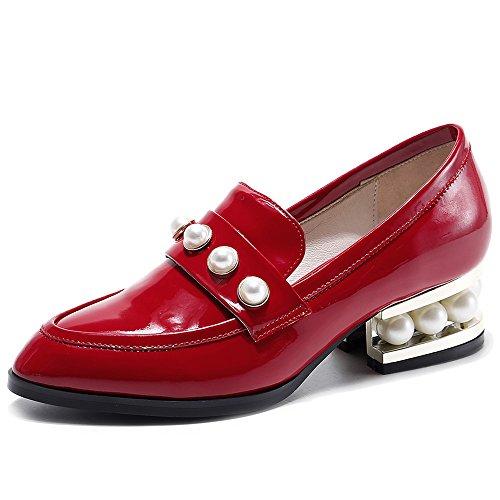 Nine Seven Cuero Moda Puntiagudos Zapatos con Tacón Grueso con Perlas para Mujer Rojo