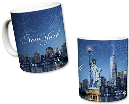 Sweet Gisele | New York City Inspired Mug | Ceramic NYC Coffee Cup | Downtown Manhattan Skyline | One World Trade Center & Statue of Liberty | Hudson River Shot | Great Novelty Gift | 11 Fl. Oz (New York Skyline One World Trade Center)