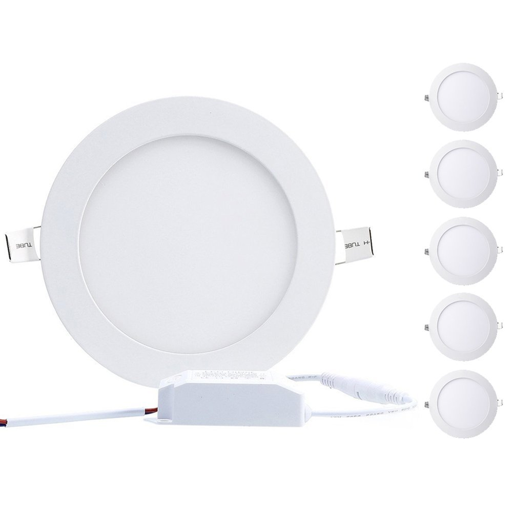 B-right Pack of 5 Units 25W 11-inch Ultra-thin Round LED Panel Light, 1800lm, 180W Incandescent Equivalent, 4000K Neutral White, LED Recessed Ceiling Lights for Home, Office, Commercial Lighting