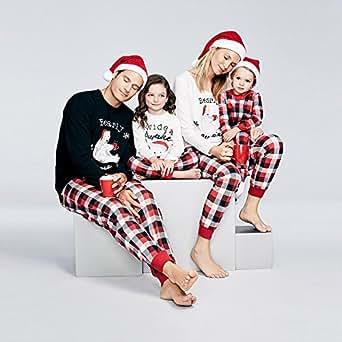 WensLTD Family Pajama Set, Matching Family Pjs Christmas Bear Pint Pajamas Set Blouse + Lattice Pants (5T, Girls/Boys-White)