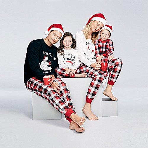 Wensltd Family Pajama Set  Matching Family Pjs Christmas Bear Pint Pajamas Set Blouse   Lattice Pants  S  Women White