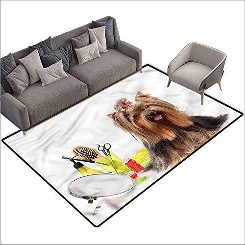 Long Kitchen Mat Bath Carpet Yorkie,Cute Hairstyle Puppy 64