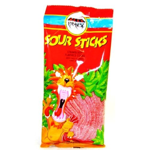 Sour Sticks - Paskesz Candy, Sour Sticks Strawberry, 3.5-ounce Bags - (Pack of 2)