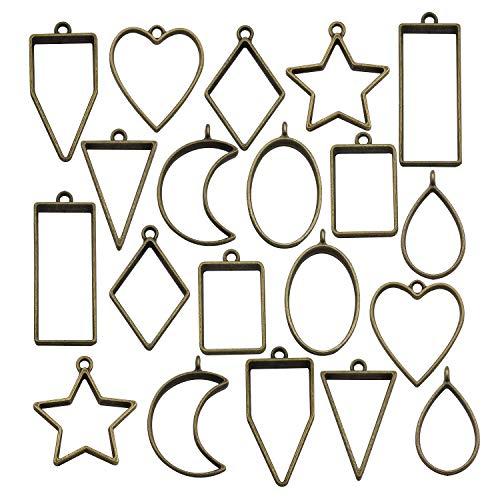 20PCS Antique Bronze Bezel Charms Pendants Open Back Bezel Pendants Hollow Mold Pendants Assorted Geometric Hollow Pressed Flower Frame Pendant DIY Crafts for Resin Earrings Necklace Bracelet M287 ()