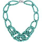 18 Inch Beautiful 5mm Simulated Turquoise Howlite Beads Link Necklace with Toggle Hook