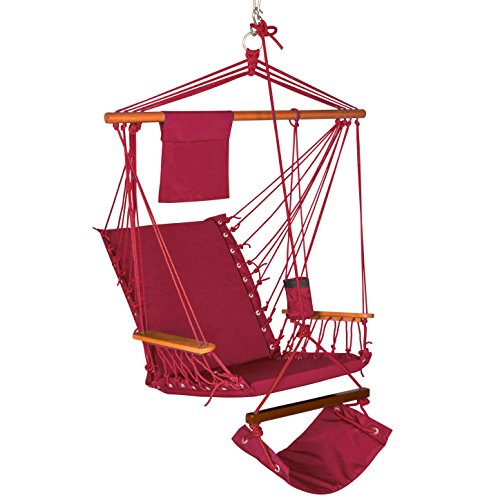 Lazy Daze Hammocks Hanging Rope Chair Cushioned Cotton Padded Swing Chair Hammock Seat with Cup Holder,Footrest&Hardware for Patio Garden Outdoor Indoor, Capacity 350 lbs (Burgundy)