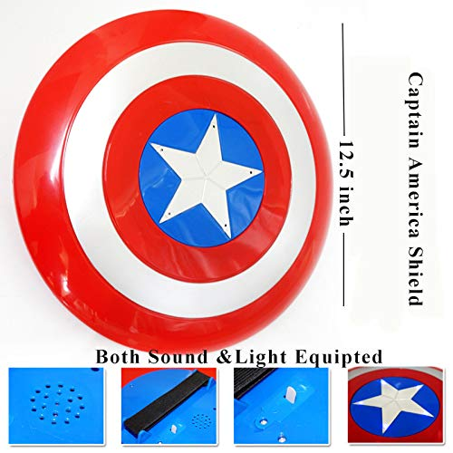 Fundisinn Captain America 5 Packs Cartoon Superhero Costume Light Sound Shield & Satin Cape & Light Mask & Adjustable Sword & Fire Gloves Dress Up Costumes Captain America Toys for Kids by Fundisinn (Image #2)