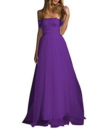Women Prom Dress Off Shoulder Lace Mesh Long Evening Ball Gown Wedding Dresses Purple 2XL