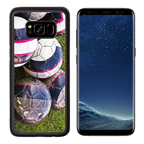 Luxlady Premium Samsung Galaxy S8 Aluminum Backplate Bumper Snap Case IMAGE ID: 19417337 soccer ball on green (Big Tex Holster)