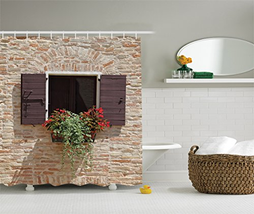 Ambesonne Tuscan Decor Collection, Antique Looking Window on Ancient Stone Wall with Flowers Pienza Tuscany Print, Polyester Fabric Bathroom Shower Curtain Set with Hooks, Beige Ivory