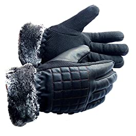 Frackson Warm Snow and Wind Proof Leather Gloves Formal and Casual Winter Gloves for Women Girl Adult Protective Warm…