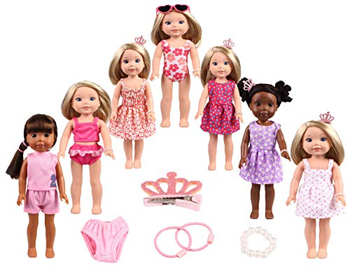 14-15 inch Doll Clothes&Accessories 7set Clothes fit American Dolls Clothes(Dolls and Glasses are for Display Purposes only, not Including Dolls.)