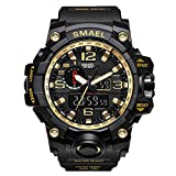 Digital Watch Waterproof Mens SMAEL Sports Watch Military Watch for Men and Boys (Black+Gold)