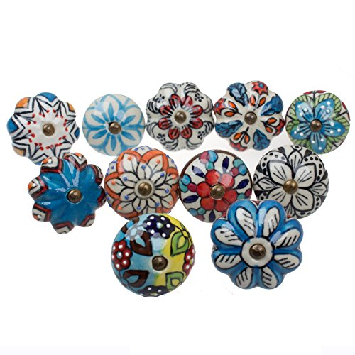 230000-11 - GlideRite Hardware Assorted Hand-Painted Ceramic Drawer Knobs (Set of 11)